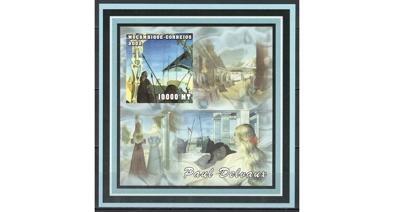 MOZAMBIC 2002 - PICTURA, PAUL DELVAUX - BLOC NESTAMPILAT - IMPERF. - MNH / pictura268